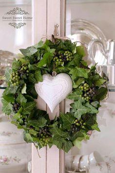 - / Decoration made of natural material -/ D . - / Decoration made of natural material -D . - / Decoration made of natural material -/ D . - / Decoration made of natural material - Diy Spring Wreath, Fall Wreaths, Diy Wreath, Door Wreaths, Christmas Wreaths, Wreath Ideas, Grapevine Wreath, Xmas, Valentine Day Wreaths