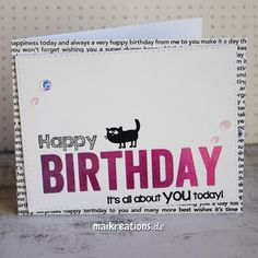 Quite graphic looking birthday card using a solid cat stamp from Catsonappletrees. Usually I get stuck when I want to use a solid stamp, but this design was perfect for the cute critter! ;o) Find more details, photos and and a list of supplies on my blog. Happy crafting, Maike ;o)  maikreations
