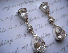 drop earrings tear drop earrings bridal earrings tear earrings wedding jewelry bridal. $138.00, via Etsy.
