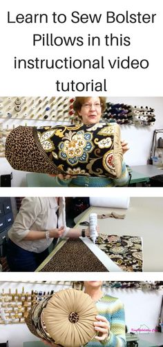 In this Bolster Pillow video I will teach you how to make a bolster pillow, add fabric covered buttons and mix multiple fabrics in one project.  In this video, Donna Cash will teach you how to make a bolster pillow with a diagonal seam embellished with a decorative trim. The gathered ends have a fabric covered button. Donna will show you how to easily pull buttons in a foam insert. Learn how Donna keeps the ends of the bolster nice and round when a welt cord has not been added to the seam…