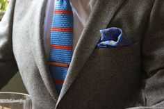 Orange Tie, Blue Orange, Knit Tie, Wool Suit, Pocket Squares, Men's Grooming, Suit Jacket, Bright Colours, Blazer