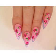 Floral stiletto nails, Nail designs, Nail art, Nails, Stiletto nails,... ($24) ❤ liked on Polyvore featuring beauty products, nail care, nail treatments, nails, beauty and makeup