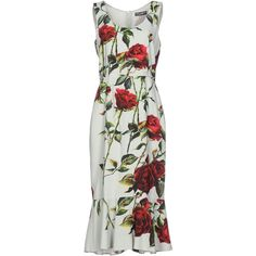 Dolce & Gabbana 3/4 Length Dress (€1.380) ❤ liked on Polyvore featuring dresses, light green, stretch dresses, zipper dress, sleeveless swing dress, stretchy dresses and dolce gabbana dress