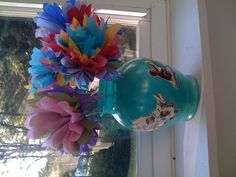 Tissue Flowers for Teacher in vase Mod Podged with Children's book