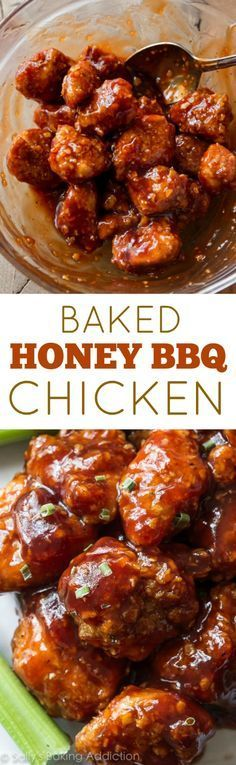 Baked Honey BBQ Poppers!! Easy, crunchy, sticky, saucy chicken poppers that are coated and baked, not fried.