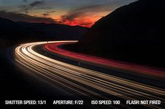 Long exposure image of traffic lights