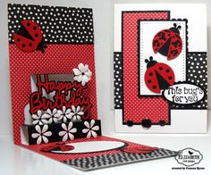 Created by Frances Byrne using Happy Birthday Pop Up Card - designed by Karen Burniston for Elizabeth Craft Designs; Ladybug; Dotted Scallop Rectangles; Stitched Rectangles; Stitched Ovals; Dotted Scallop Ovals; Bunch of Flowers 2 - Elizabeth Craft Designs