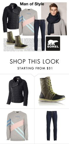 """""""Tame Winter with SOREL: Contest Entry"""" by josehline on Polyvore featuring SOREL, River Island, Nudie Jeans Co., men's fashion and menswear"""