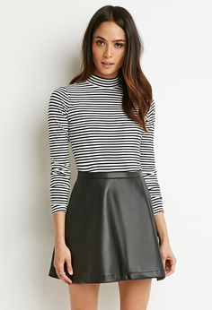 $17, Forever 21 Faux Leather Skater Skirt. Sold by Forever 21. Click for more info: https://lookastic.com/women/shop_items/318718/redirect
