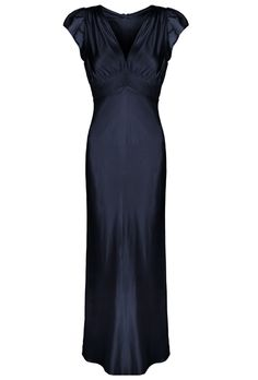 Stunning vintage inspired simple event gown. Floor length. A special piece for black tie events and weddings. A pure silk fully lined dress with fluidity and drape. Flattering empire line with beautifully cut bust and neat cap sleeve. Simple, understated and elegant. Individually made in London. Fits true to size. If you are slightly larger at the hips, it is advisable to size up .