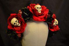 Skull and Rose Day of the Dead Crown - Skeleton Katrina Dia de los Muertos Red and Black Crown of Roses Headband Headdress Fascintor. $55.00, via Etsy.