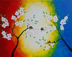 Original Birds on Branch,Love Birds painting,Love birds on cherry tree,Beautiful Birds and tree painting,Bird painting,Children's room Art, by ArtByRangrez on Etsy