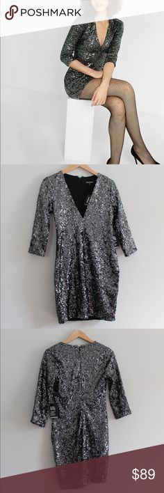 🎉HP🎉 Express Deep V Sequin Dress Deep v neck, silver sequin dress  100% polyester   Perfect dress for New Years Eve! Express Dresses Mini