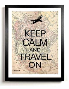 Keep Calm and Travel On art print, Airplane, jet, wall decor