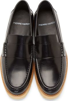 Pierre Hardy Navy Leather Penny Loafers