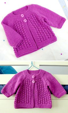 Baby Cardigan Knitting Pattern Free, Knitted Baby Cardigan, Knit Baby Sweaters, Knitted Baby Clothes, Free Knitting, Baby Bloomers Pattern, Baby Sewing, Crochet, Knits