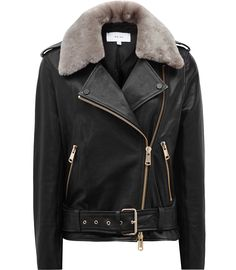 Womens Black/mink Shearling And Leather Jacket - Reiss Dree