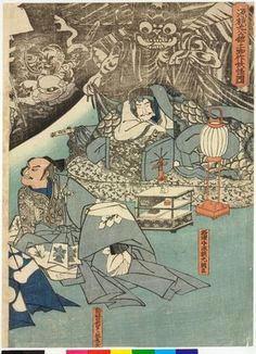 Utagawa Kuniyoshi: Minamoto no Yorimitsu-ko no yakata ni tsuchigumo yokai o nasu zu 源頼光公館土蜘作妖怪圖 (The Earth Spider Conjures up Demons at the Mansion of Minamoto no Raiko) - British Museum