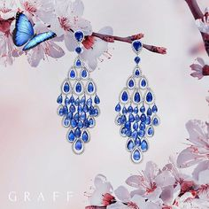 Cascading jewels Inspired by the versatility, inherent movement and stunning scintillation of this captivating cut, these briolette earrings embody perfection. Incorporating vibrant sapphires, the earrings form the silhouette of a diamond with individually pierced briolettes tumbling to a single drop. #GraffDiamonds #Briolettes #Sapphires