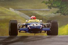 Jo Siffert at Brands Hatch Acrylic on paper (c) Steve Jones. Types Of Races, Races Style, Car Illustration, Indy Cars, Automotive Art, Vintage Racing, Auto Racing, Pilots, Vintage Signs