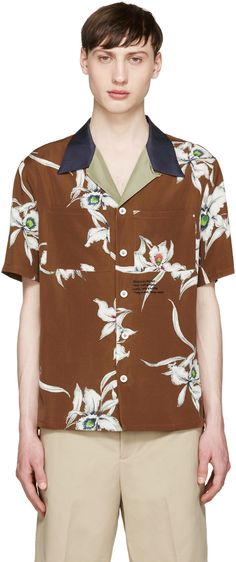 465a3905caf Valentino - Brown Floral Shirt Valentino Clothing