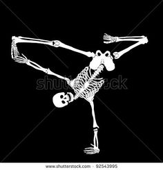 stock vector :  Vector skeleton posed  like brake dancer. Haloween background
