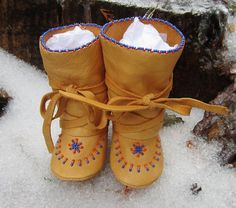 Native American Beaded Baby Mukluks and Soft Soled Boots Made of Soft Deer Hide Leather