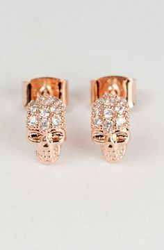 Rose Gold Skull Earrings. WANT.