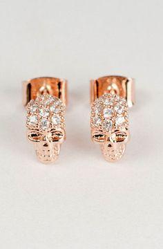 Rose Gold Skull Earrings. WANT.