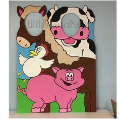 Farm Birthday Party Prop . Farm Animal Cutout . Animal Face in