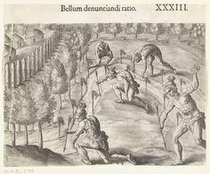 Theodor de Bry | Indiaanse manier om de vijand de oorlog te verklaren, Theodor de Bry, Johann Theodor de Bry, , 1591 | Vijf Indianen plaatsen pijlen in de grond langs de weg die uit een vijandig dorp leidt. Volgens de Latijnse titel is dit de manier om aan de vijand de oorlog te verklaren.