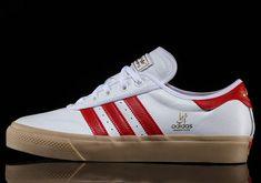 Zapatillas Adidas Originals Adi-Ease para chica color blanco de piel con detalles rojos y suela color caramelo.