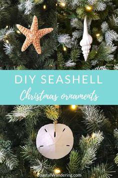 Easy Beach Christmas Ornaments To Make Farmhouse Christmas Ornaments Diy, Seashell Christmas Ornaments, Purple Christmas Tree, Coastal Christmas Decor, Christmas Crafts, Christmas Decorations, Christmas Tables, Diy Ornaments, Coastal Decor