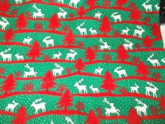 Reindeer Christmas trees Sewing fabric Snow wavy red green white dot snow cotton #Unbranded