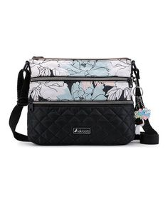 Look what I found on #zulily! Black Peony Quilted Crossbody Bag #zulilyfinds