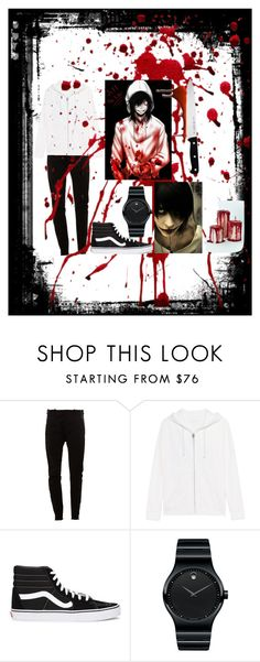 """""""Go.  to. sleep."""" by kandyflozz ❤ liked on Polyvore featuring MASNADA, True Religion, Vans, Movado, J.A. Henckels, men's fashion and menswear"""