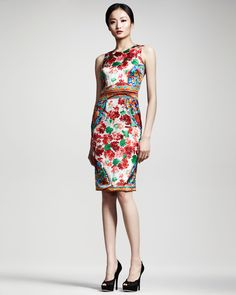 Dolce & Gabbana Floral-Print Sheath Dress - Neiman Marcus