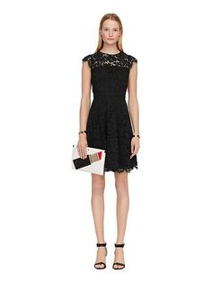 rose lace fit and flare dress - Kate Spade New York