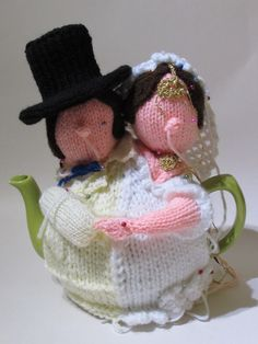 Just pinning together a bespoke tea cosy of a Bride and Groom to Celebrate a Wedding Annaversary http://www.teacosyfolk.co.uk/bespoke_tea_cosies.php