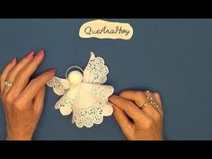 Crafts for Xmas decoration DIY, how to make Santa Claus elves- Christmas ornaments DIY Wooden Christmas Decorations, Christmas Ornaments To Make, Easy Christmas Crafts, Angel Ornaments, Christmas Angels, Paper Doily Crafts, Doilies Crafts, Paper Doilies, Diy Paper