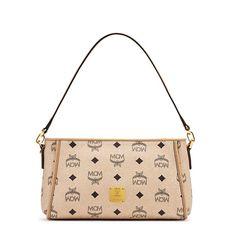 MCM Small Color Visetos Shoulder Bag In Beige