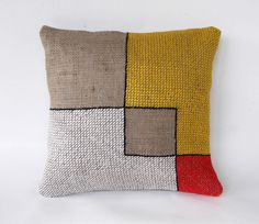Basketweave sticth on burlap fabric, geometric embroidery, geometric abstraction