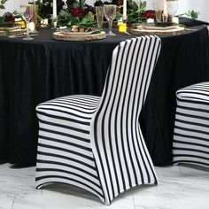 Efavormart 30 PCS Striped Stretchy Spandex Fitted Banquet Chair Cover Dinning Event Slipcover for Wedding Party Banquet Catering Banquet Chair Covers, Dining Chair Covers, Folding Chair Covers, Dining Chair Slipcovers, Dining Chairs, Chair Sashes, Chair Backs, Black White Stripes, Black And White