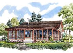 ePlans Low Country House Plan – Rustic Sportsman Cabin – 1031 Square Feet and 2 Bedrooms from ePlans – House Plan Code I love this floor plan - [possible change to- 1 bathroom and a spot for a washer/dryer area with table, best i have seen yet! Country Style House Plans, Cottage House Plans, Cottage Homes, Cottage Style, Small Country Homes, Best House Plans, Small House Plans, Small Cottage Plans, The Plan