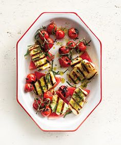 Grilled halloumi with watermelon an basil-mint oil.