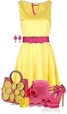 """Yellow Tara Jarmon Dress"" by lmm2nd on Polyvore"