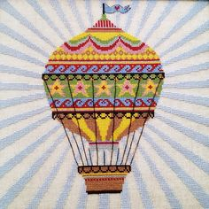 hot air balloon cross stitch. And add name and birth info