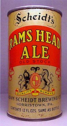 Scheidt's Rams Head Old Stock Ale Old Ale, Beer History, Beer Can Collection, Old Beer Cans, German Beer Steins, Beer 101, Beers Of The World, Beer Brands, Vintage Packaging