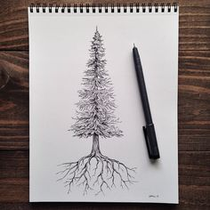Nature and American West art + products by Sam Larson Copic Kunst, Copic Art, Art Minimaliste, Tree Sketches, Karten Diy, Pen Art, Art Plastique, Cool Drawings, Tattoo Inspiration