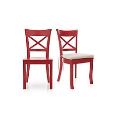 Dining Chair Crate & barrel Vintner Red Side Chair and Cushion